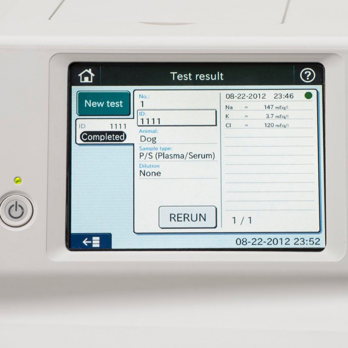Element DC5X Veterinary Chemistry Analyzer Results Screen